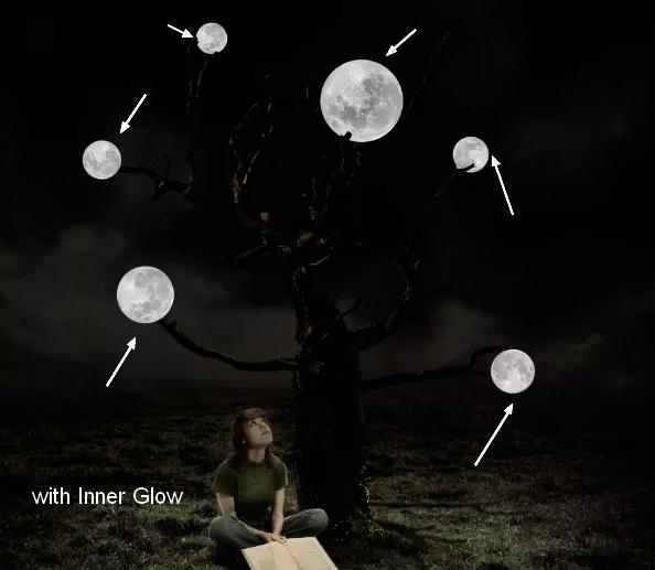 Иллюстрация дерева с лунами 42