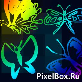 Коллекция кистей из бабочек
