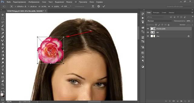 повернуть отдельную часть изображения в фотошопе