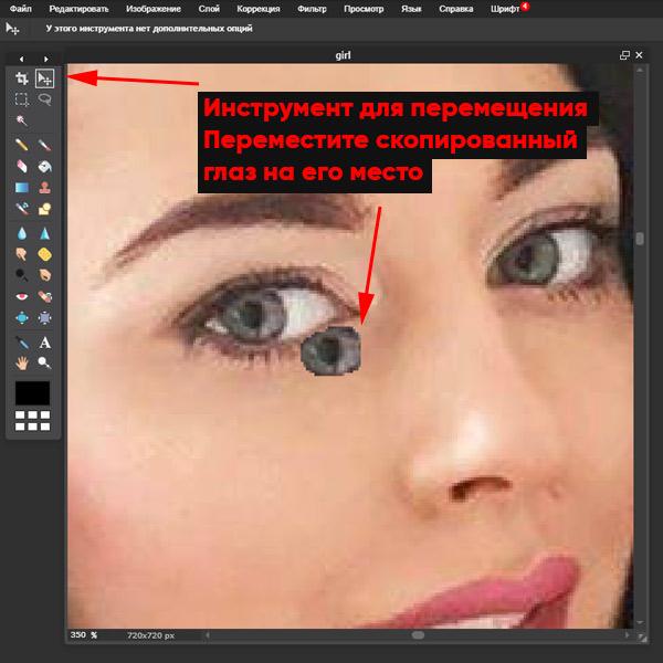 перемещаем глаз онлайн на фото