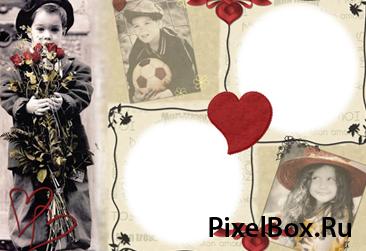 Рамка для фотографии - Влюбленные дети 1