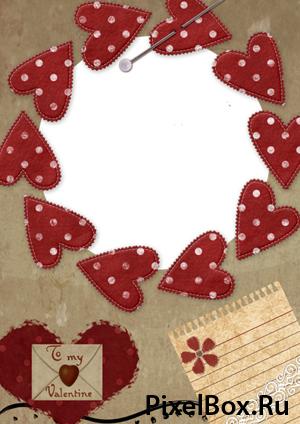 Рамка для фотографии - Письмо с валентинками 1
