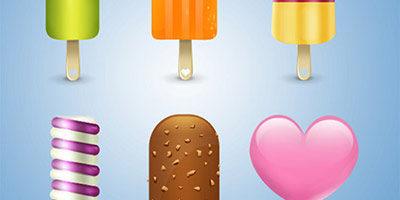 9 иконок в виде мороженого