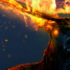 Олень с горящими рогами