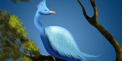 Рисуем в фотошоп красивую синюю птицу из текстуры металла
