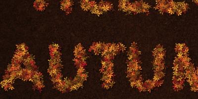 Текст из листьев