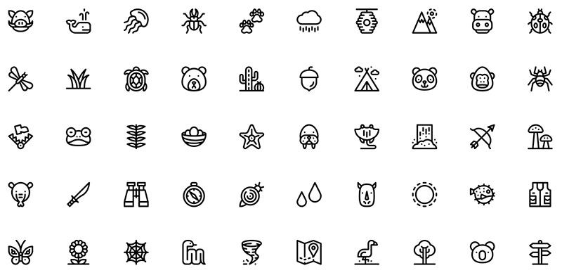 50 контурных иконок с природой и животными