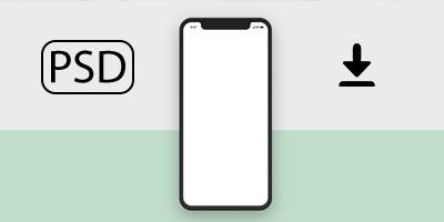 Mockup PSD iPhoneX в плоском стиле