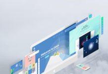 PSD шаблон «Экраны в перспективе»