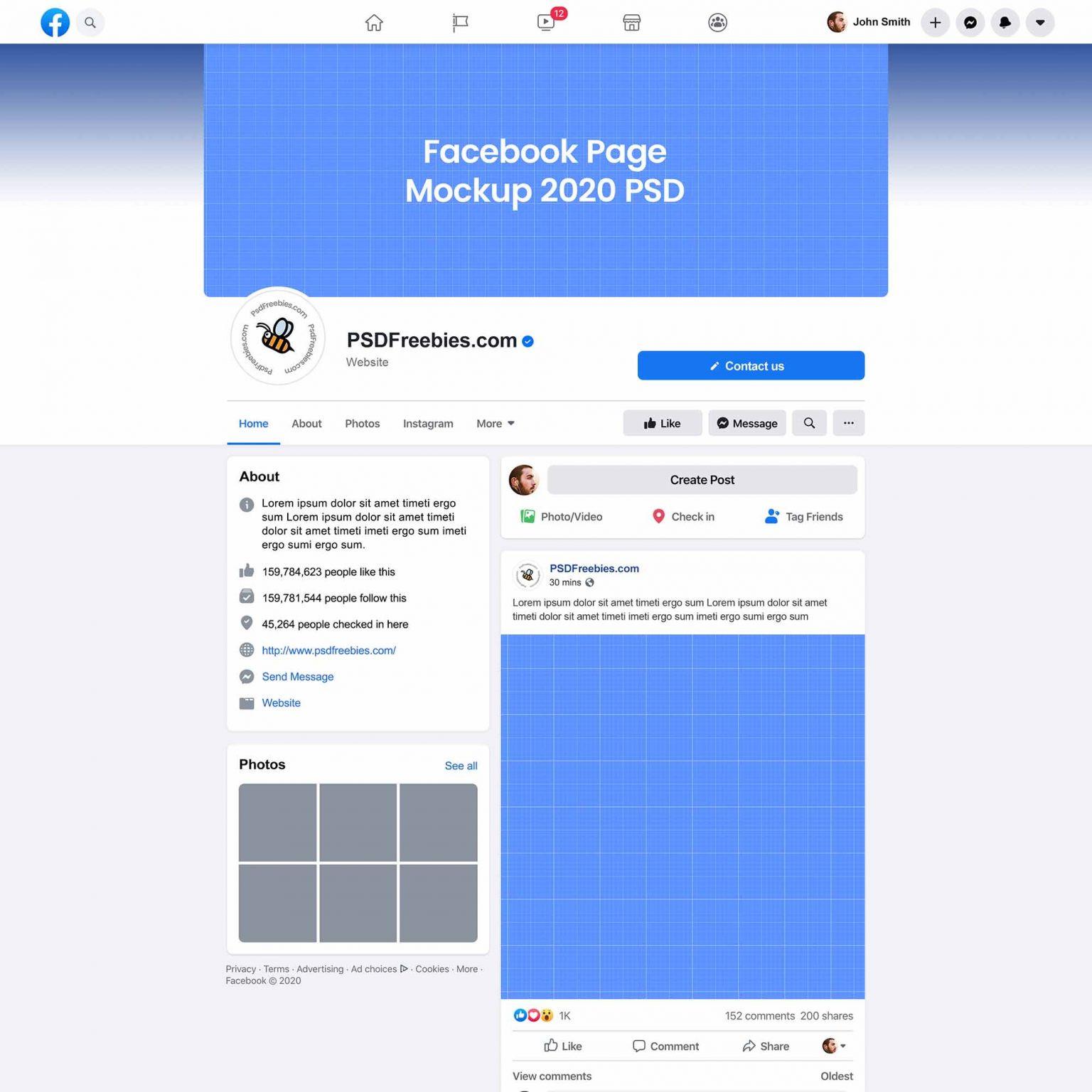 PSD-шаблон «Facebook 2020»
