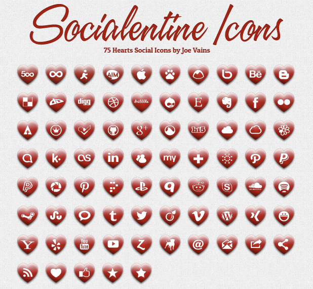 Набор иконок «Социализация в сердцах»