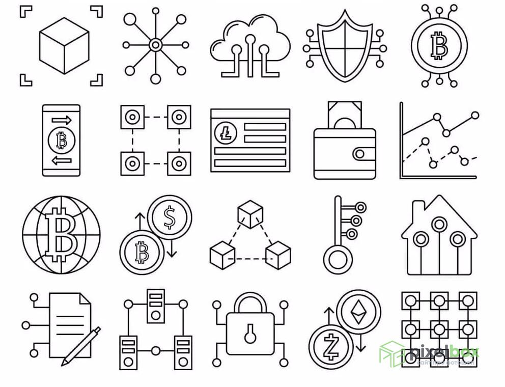 Набор иконок «Блокчейн»