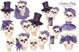 Клипарт «Хеллоуин и скелеты»